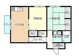島根県松江市大庭町長者原の賃貸アパートの間取り