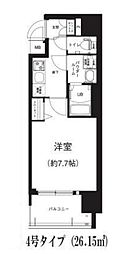 Osaka Metro谷町線 谷町六丁目駅 徒歩8分の賃貸マンション 9階1Kの間取り