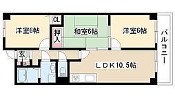 愛知県名古屋市緑区相川2の賃貸マンションの間取り