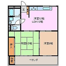 三重県亀山市みずほ台の賃貸アパートの間取り