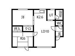 ウェーデルンユキーマンション 2階2LDKの間取り