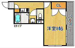 大阪府泉佐野市南中安松の賃貸マンションの間取り