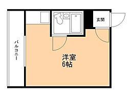 HKC3ビル 3階ワンルームの間取り