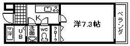 ワイズクレスト久米田[11号室]の間取り