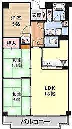 ライオンズマンション山科御陵[116号室号室]の間取り