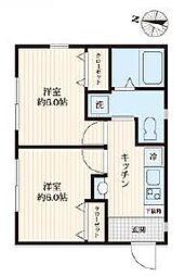 都営新宿線 篠崎駅 徒歩5分の賃貸マンション 2階2Kの間取り
