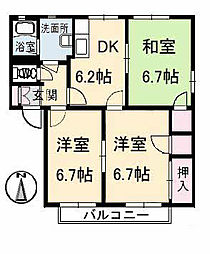 広島県福山市春日町1丁目の賃貸アパートの間取り