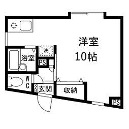 八木山松波ビル 2階ワンルームの間取り