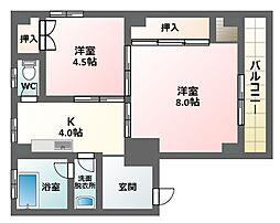 中野コーポ[4階]の間取り