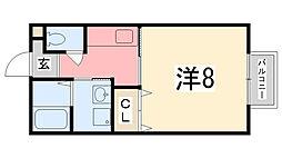 パセオ姫路 A棟[202号室]の間取り