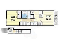 JR東西線 加島駅 徒歩11分の賃貸アパート 2階1LDKの間取り