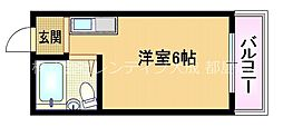 Osaka Metro谷町線 野江内代駅 徒歩9分の賃貸マンション 1階ワンルームの間取り