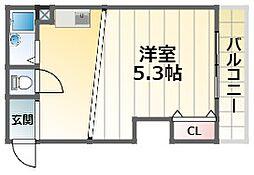 ウェル千里 6階1Kの間取り