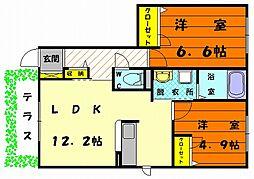 福岡県福岡市東区三苫6丁目の賃貸アパートの間取り