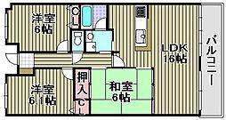フローラハイツ泉佐野弐番館[402号室]の間取り