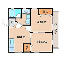 静岡県静岡市清水区村松原1丁目の賃貸アパートの間取り