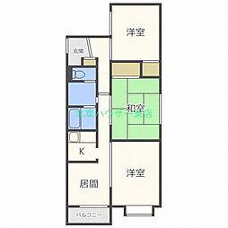 北海道札幌市東区北二十四条東3丁目の賃貸マンションの間取り