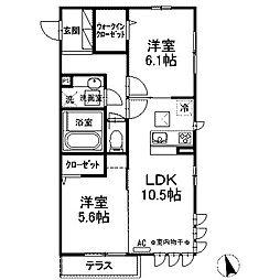 (仮)D-room西大沼[1階]の間取り