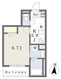 東武伊勢崎線 東向島駅 徒歩4分の賃貸マンション 2階1Kの間取り