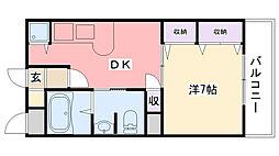 エスポワール若草[203号室]の間取り