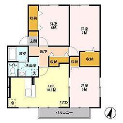 長野県松本市大字島立734丁目の賃貸アパートの間取り