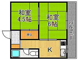 松崎マンション南武庫之荘[404号室]の間取り