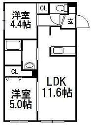 北海道札幌市西区発寒三条3丁目の賃貸マンションの間取り