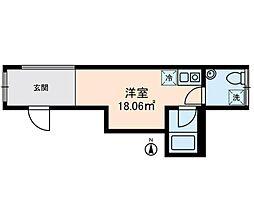 東京メトロ日比谷線 三ノ輪駅 徒歩4分の賃貸マンション 4階ワンルームの間取り