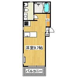 京王井の頭線 東松原駅 徒歩3分の賃貸マンション 4階ワンルームの間取り
