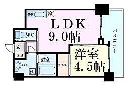 ノルデンハイム天神橋アドバンス 8階1LDKの間取り