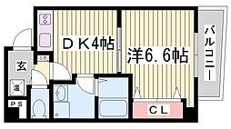 ラ・フォンテ三宮旭[9階]の間取り