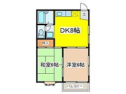 東京都府中市是政2丁目の賃貸アパートの間取り