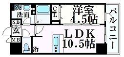 プレサンス THE 神戸 14階1LDKの間取り