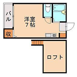 福岡県福岡市中央区鳥飼1の賃貸アパートの間取り