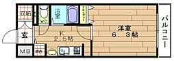 ライジングコートベイシティ西九条ノース[3階]の間取り
