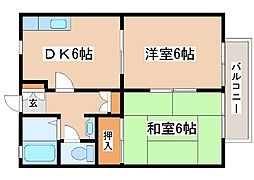 JR山陽本線 明石駅 バス20分 玉津インター前下車 徒歩6分の賃貸アパート 2階2DKの間取り