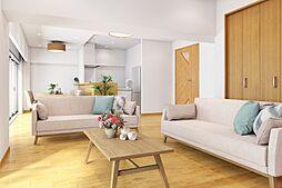 ログマンションでは、住まいの中心となるリビングスペースをできる限り充分に取ると共に、窓からの採光を存分に活かす造りで、明るく温かみのあるワイドリビングに仕上げています。完成イメージパースです。