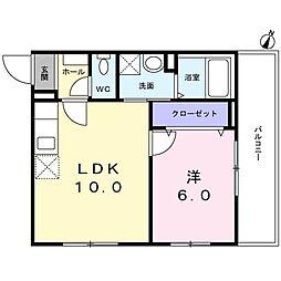 西武新宿線 新井薬師前駅 徒歩7分の賃貸マンション 3階1LDKの間取り
