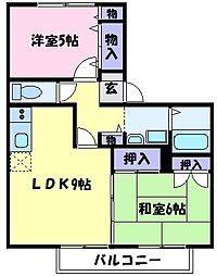 南海高野線 北野田駅 徒歩5分の賃貸アパート 1階2LDKの間取り