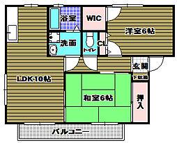 大阪府大阪狭山市池尻自由丘2丁目の賃貸アパートの間取り