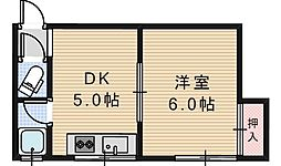 ライズワン阿倍野3[205号室]の間取り