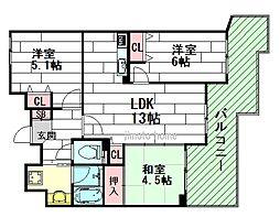 セントラル江坂広芝町[8階]の間取り