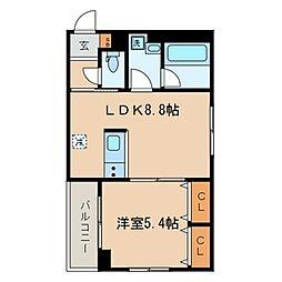 東急目黒線 西小山駅 徒歩9分の賃貸マンション 2階1LDKの間取り