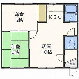 北海道札幌市白石区栄通16丁目の賃貸アパートの間取り