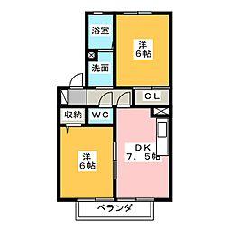 パラシオ愛芳 B棟[1階]の間取り