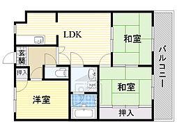 第2誠和ビル 3階3LDKの間取り