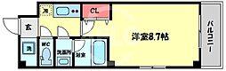 天川INN梅田東 2階1Kの間取り