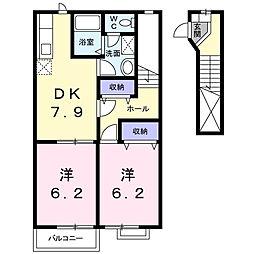 アルエットB[2階]の間取り