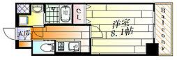 ワールドアイ大阪緑地公園 4階1Kの間取り