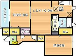 ヴァンティアン中の原 C棟[1階]の間取り